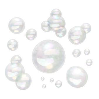 Blasen verschiedener größen lokalisiert auf weißem hintergrund