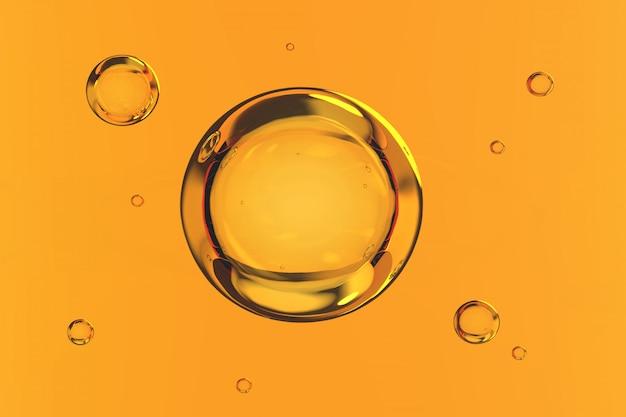 Blasenwasser auf gelbem hintergrund 3d übertragen