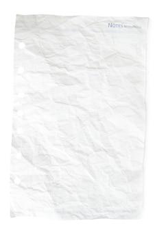 Blatt aus notizbuch auf weißem hintergrund