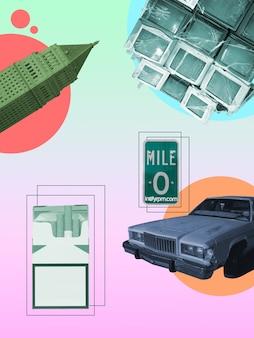 Blatt, fernsehbündel und retro-auto auf steigungshintergrund. negatives leerzeichen, um ihren text einzufügen. modernes design. zeitgenössische bunte und konzeptionelle helle kunstcollage für die werbung. zine, retrowave-stil.