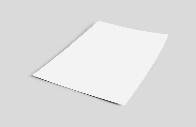 Blatt papier lokalisiert auf einem hintergrund mit schatten - wiedergabe 3d