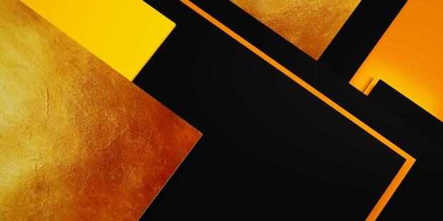 Blattgold textur hintergrund schwarz und gelb rahmen bodenniveau elegante kraftvolle 3d-illustration