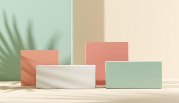 Blattschatten auf pastellhintergrund für produktpräsentation.
