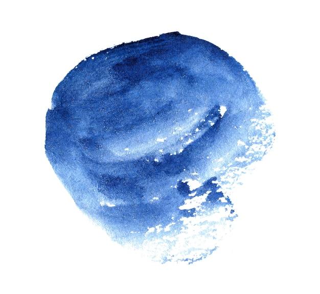 Blau aquarell handgezeichnete fleck auf weißem papier kornstruktur abstrakte aquarell künstlerische pinselfarbe spritzer hintergrund
