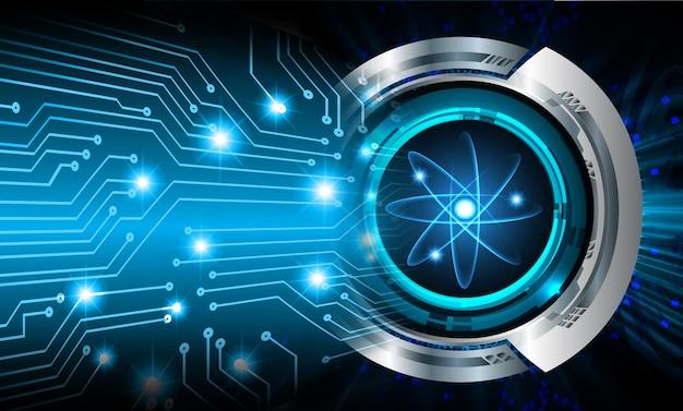 Blau glänzendes atomschema.