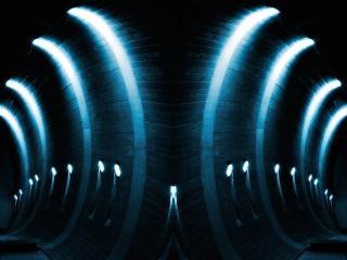 Blau leuchtende bögen