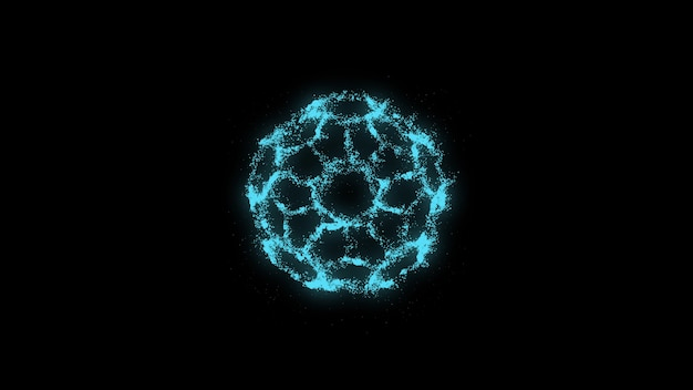 Blau leuchtende partikel auf schwarzem hintergrund futuristischer abstrakter hintergrund
