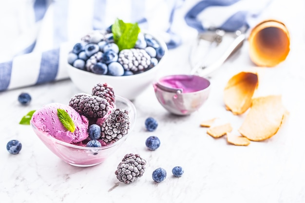 Blaubeer- und brombeereis in schüssel mit gefrorenen früchten.