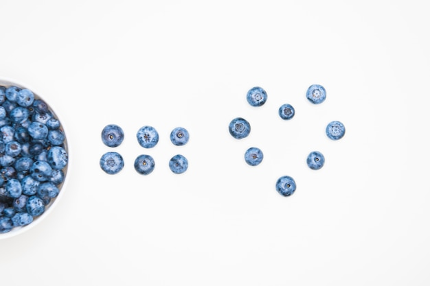 Blaubeeren und vitamin c. nahaufnahme von frischen blaubeeren. früchte voller vitamin c. öko-lebensmittel. gesunde beeren. sicht von oben