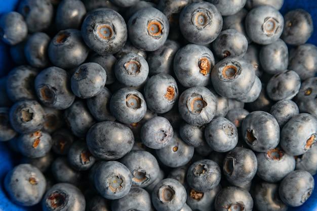 Blaubeerhintergrund. reife blaubeeren hautnah. bio und gesundes essen.