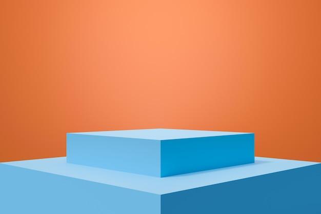 Blaue 3d-rendering des bühnenpodests auf orangem hintergrund abstrakt.