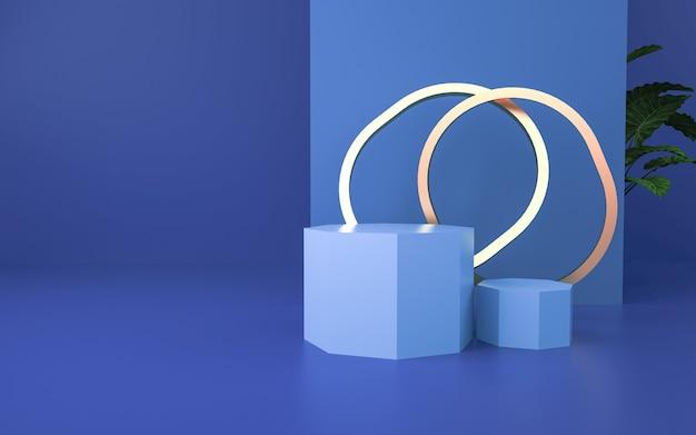 Blaue 3d-rendering-szene für produktanzeige