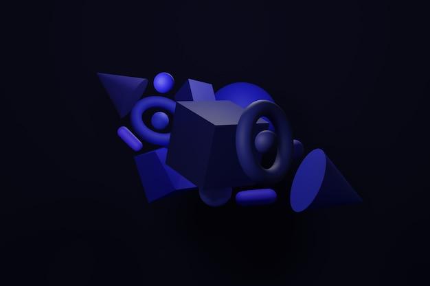 Blaue abstrakte fahne, 3d rendern blauen geometrischen formenhintergrund. satz abstrakter moderner grafischer elemente. verlaufsbanner mit fließenden flüssigen formen. vorlage für die gestaltung eines logos, flyer.