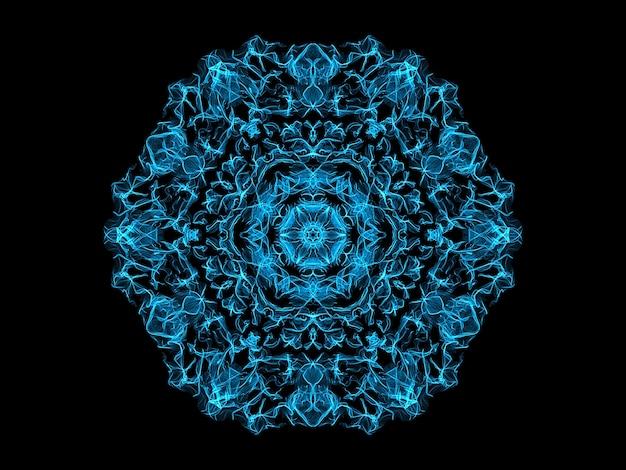 Blaue abstrakte flammenmandalaschneeflocke, dekoratives rundes muster yoga mit blumenmotiv.