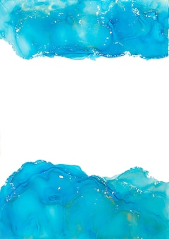 Blaue alkoholtinte texturabdeckung mit goldenen linien und glitzer