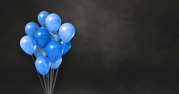 Blaue ballons bündeln auf einem schwarzen wandhintergrund. 3d-darstellung rendern