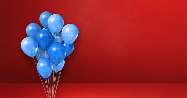 Blaue ballons bündeln auf einer roten wand. 3d-darstellung rendern