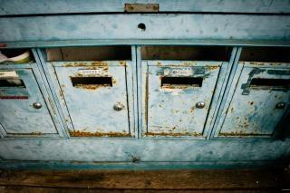 Blaue briefkästen