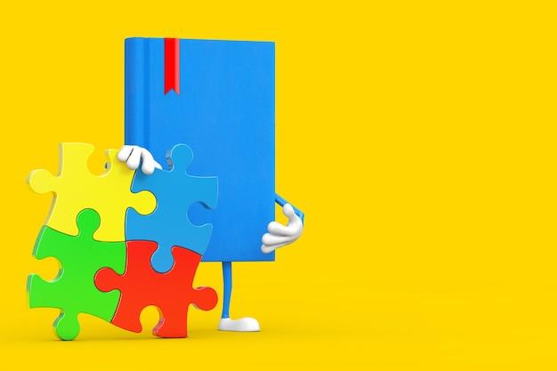 Blaue buch-charakter-maskottchen-person mit vier stücken des bunten puzzles auf einem gelben hintergrund. 3d-rendering