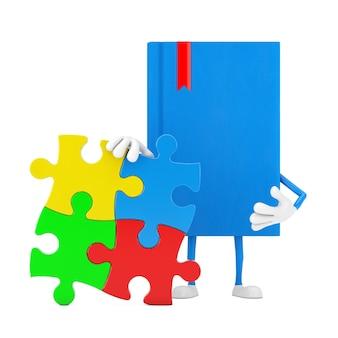 Blaue buch-charakter-maskottchen-person mit vier stücken des bunten puzzles auf einem weißen hintergrund. 3d-rendering
