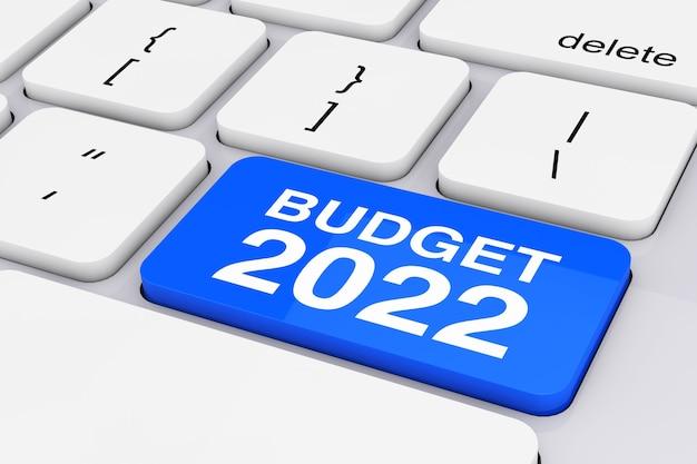 Blaue budget-2022-taste auf weißer pc-tastatur extreme nahaufnahme. 3d-rendering