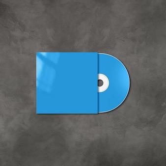 Blaue cd - dvd-etikett und cover-modellvorlage lokalisiert auf konkretem hintergrund