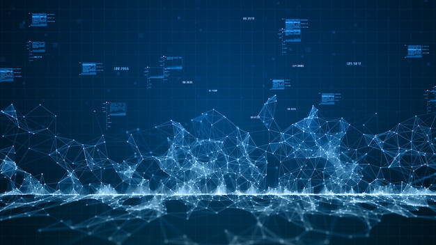 Blaue digitale cyberspace-digitaldatennetzwerkverbindungen Premium Fotos
