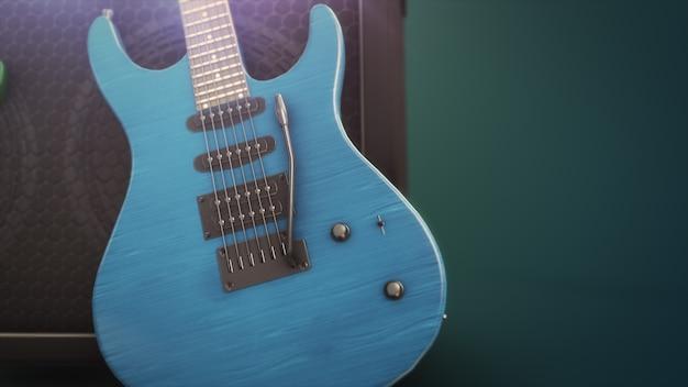 Blaue e-gitarre mit großer nahaufnahme mit 3d-illustration des kopierraums