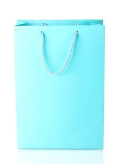 Blaue einkaufstasche isoliert auf weiß
