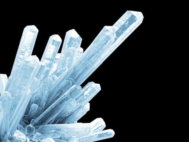 Blaue eiskristalle auf schwarz