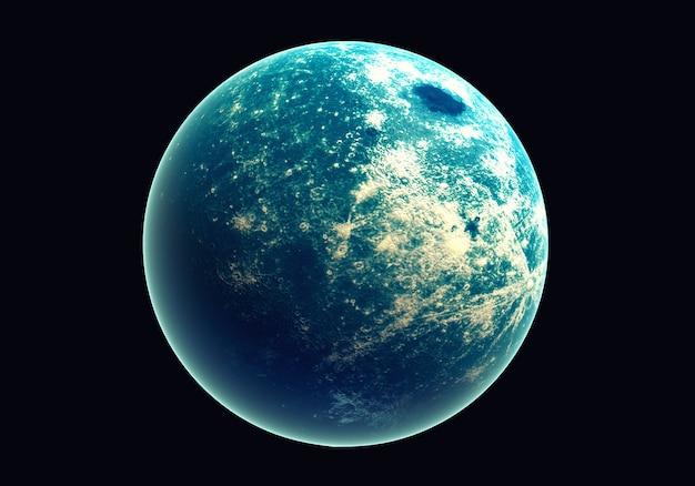 Blaue erde im weltraum und in der galaxie. kugel mit äußerem glühen ozon und weißer wolke.