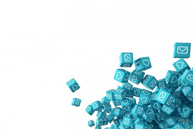 Blaue fallende würfel mit symbolen, die soziale netzwerkikonen simulieren. 3d-illustration