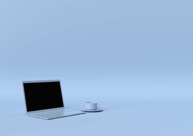 Blaue farbe des laptops mit kopienraum für ihren text, minimales konzept 3d übertragen, illustration 3d.