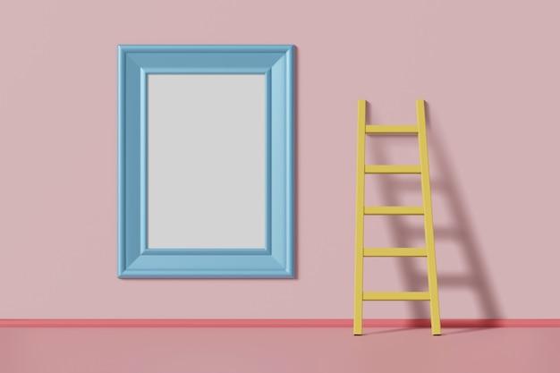 Blaue farbe des vertikalen modellbilderrahmens, die an einer rosa wand nahe der treppe hängt. abstraktes mehrfarbiges kinderkarikaturkonzept. 3d-rendering