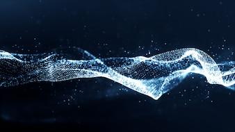 Blaue Farbpartikel wave abstract Background