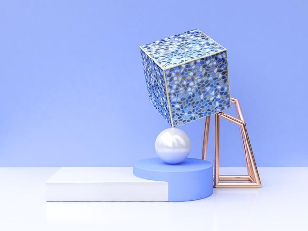 Blaue fliesenzusammenfassung 3d der quadratischen form