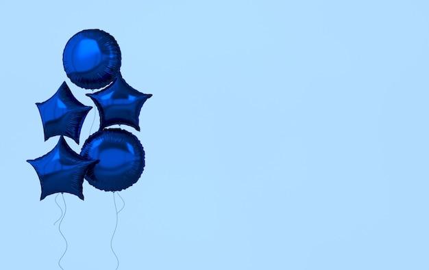Blaue folienballons lokalisiert auf blauem hintergrund