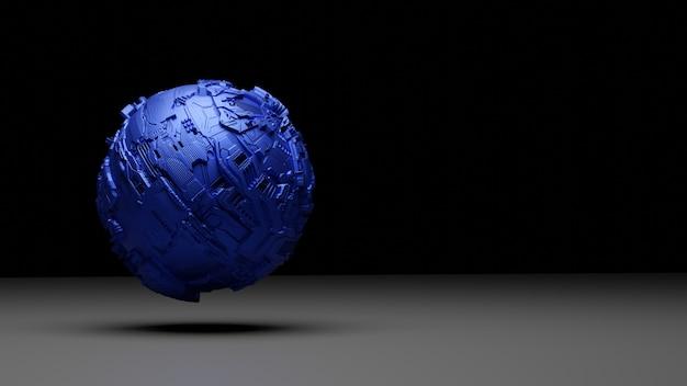 Blaue futuristische 3d-kugel.