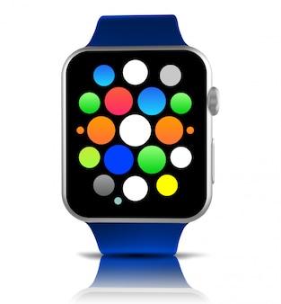 Blaue generische intelligente uhr mit ikonen