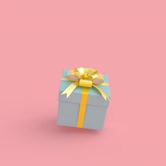 Blaue geschenkbox auf rosa pastellhintergrund mit beschneidungspfad