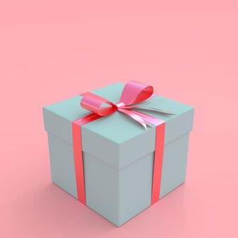 Blaue geschenkbox auf rosa pastellhintergrund