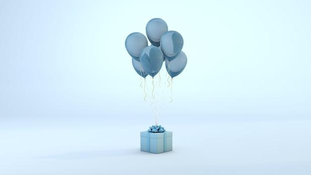 Blaue geschenkbox, die durch luftballons auf pastellhintergrund schwimmt. 3d-rendering