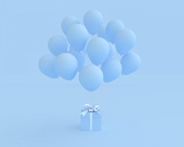 Blaue geschenkbox mit ballon auf blauem hintergrund