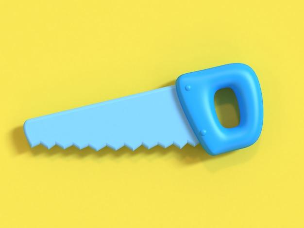 Blaue hand sah 3d-rendering minimal gelb, handwerker-ingenieur-tools