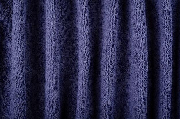 Blaue handtuchgewebestruktur, draufsichtfoto.