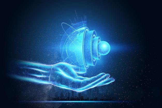 Blaue hologramm-innenstruktur der erde, die struktur des kerns, geologische schichten auf einem dunklen hintergrund. erdgeologie-konzept, magma.