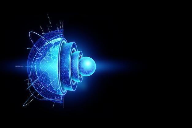 Blaue hologramm-innenstruktur der erde, die struktur des kerns, geologische schichten auf einem dunklen hintergrund.
