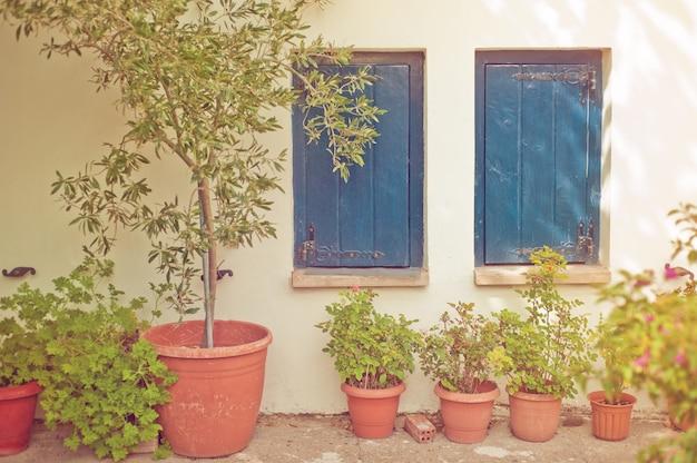 Blaue holzfenster