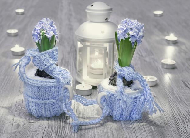 Blaue hyazinthen mit wolldekorationen und kerzen auf holz