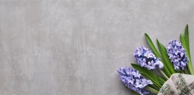 Blaue hyazinthenblumen auf hellem steinhintergrund
